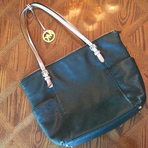 Michael Kors dark green leather bag